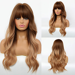 cheap Synthetic Trendy Wigs-Synthetic Wig Body Wave Neat Bang Wig Long Synthetic Hair 24 inch Women's Fashionable Design Women Color Gradient Blonde