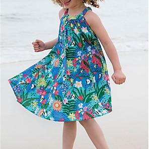 cheap 3D Night Lights-Kids Girls' Floral Sleeveless Dress Blue
