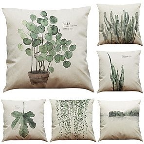 cheap Throw Pillow Covers-1 Set of 6 Pcs Botanical Series  Decorative Linen Throw Pillow Case Cushion Cover 18 x 18 inches 45 x 45 cm