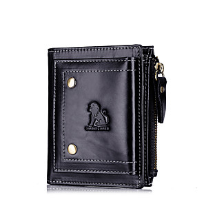 cheap Other Phone Case-Men's Bags Nappa Leather Wallet Zipper for Shopping / Daily Black / Coffee
