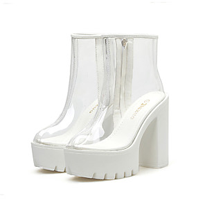 cheap Women's Boots-Women's Boots Spring / Fall Platform Round Toe Basic Roman Shoes Daily Solid Colored PVC Booties / Ankle Boots White / Black