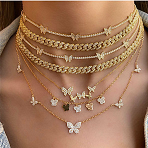 cheap Necklaces-Women's Pendant Necklace Chain Necklace Butterfly Luxury European Trendy Fashion Zircon Chrome 45 cm Necklace Jewelry For Party Evening Masquerade Prom Birthday Party Festival