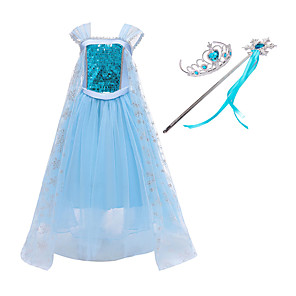 cheap Movie & TV Theme Costumes-Frozen Princess Dress Cosplay Costume Girls' Movie Cosplay Mesh Halloween Blue Dress Wand Halloween New Year Polyester / Cotton