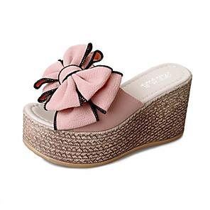 cheap Women's Sandals-Women's Sandals Summer Wedge Heel Open Toe Casual Daily Bowknot PU Black / Pink / Green