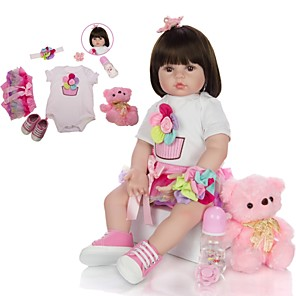 cheap Reborn Doll-KEIUMI 24 inch Reborn Doll Baby & Toddler Toy Reborn Toddler Doll Baby Girl Gift Cute Lovely Parent-Child Interaction Tipped and Sealed Nails Half Silicone and Cloth Body with Clothes and Accessories