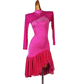 cheap Latin Dancewear-Latin Dance Dress Cascading Ruffles Split Joint Women's Training Long Sleeve High Spandex