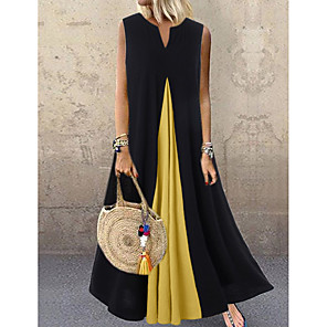 cheap Handbag & Totes-Women's Swing Dress Maxi long Dress - Sleeveless Color Block Summer V Neck Casual Loose 2020 White Black Dusty Blue S M L XL XXL XXXL XXXXL XXXXXL
