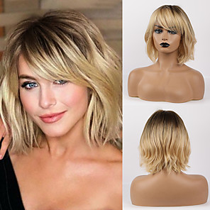cheap Synthetic Lace Wigs-Remy Human Hair Wig Medium Length Curly Natural Wave Asymmetrical Side Part With Bangs Blonde Women Fashion Natural Hairline Capless Women's All Medium Brown / Light Blonde 12 inch