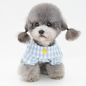 cheap Dog Clothes-Dog Pajamas T-shirts Plaid / Check Casual / Sporty Cute Party Casual / Daily Dog Clothes Breathable Yellow Blue Pink Costume Fabric S M L XL XXL