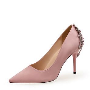 cheap Women's Heels-Women's Heels Spring / Fall Pumps Pointed Toe Wedding Party & Evening Rhinestone Satin Almond / Black / Red