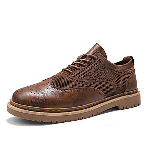 cheap Men's Oxfords-Men's Spring / Summer Business / Classic / Casual Daily Office & Career Oxfords Walking Shoes Faux Leather / Tissage Volant Breathable Non-slipping Wear Proof Black / Brown / Gray