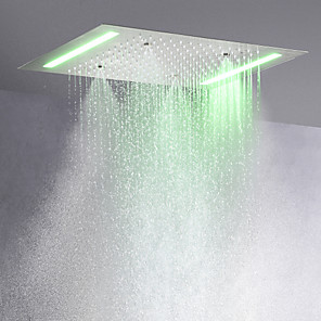 cheap Rain Shower-Contemporary Rain Shower Brushed Feature - LED, Shower Head