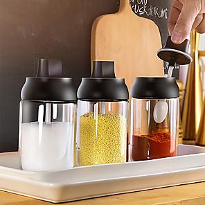 povoljno Sokovnici-250ml staklenka začina boca začina sol papar staklenka začini staklenka poklopac žlica otpornost na vlagu žlica začin za spremanje kuhinjska bočica za začin