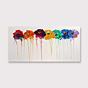 cheap Abstract Paintings-Handmade Colorful Flowers Oil Painting on Canvas Modern Abstract Large Landscape Wall Art for Living Room
