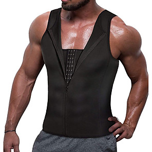 cheap Fitness Gear & Accessories-Hot Sweat Workout Tank Top Slimming Vest Sports Neoprene Home Workout Fitness Gym Workout Zipper Weight Loss Hot Sweat Fat Burning For Men Women