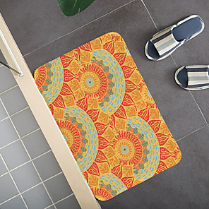 cheap Bathroom Gadgets-1pc Modern Mandala Bath Mats / Bath Rugs Coral Velve Geometric / Abstract 5mm Bathroom New Design