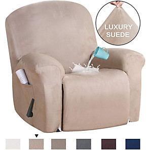 cheap Throw Pillow Covers-Stretch Recliner Slipcovers 1-Piece Modern Solid color waterproof suede Sofa Furniture Protector Fit Stretch Stylish Recliner Cover