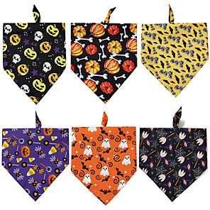 cheap Dog Clothes-Dog Cat Bandanas & Hats Dog Bandana Dog Bibs Scarf Cartoon Party Casual / Sporty Halloween Sports Dog Clothes Adjustable Costume Polyster L