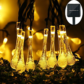 cheap LED String Lights-6.5M 30LED Solar Bulb LED Light String Droplet Bulbs Fairy String Lights Outdoor String Lights 8 Function Outdoor Waterproof For Wedding Garden Lawn Decoration Solar Lamp