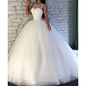 cheap Wedding Slips-Ball Gown Wedding Dresses Jewel Neck Sweep / Brush Train Tulle Sleeveless Formal with Beading 2020
