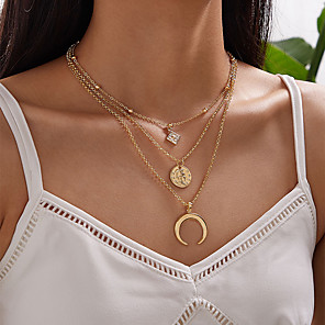 cheap Necklaces-Women's Pendant Necklace Necklace Stacking Stackable Moon Classic Vintage Trendy Fashion Chrome Gold 61 cm Necklace Jewelry 1pc For Wedding Party Evening Street Beach Festival / Layered Necklace