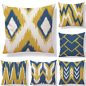 cheap Throw Pillow Covers-1 Set of 6 Abstract Geometry Series  Decorative Linen Throw Pillow Cover 18 x 18 inches 45 x 45 cm