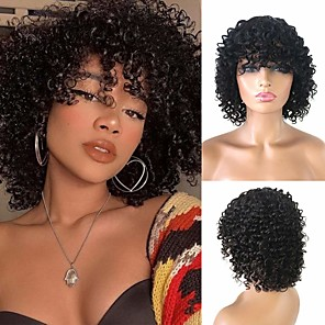 cheap Synthetic Trendy Wigs-Remy Human Hair Wig Short Curly Afro Curly Bob With Bangs Natural Black Women Easy dressing Lovely Machine Made Capless Brazilian Hair Women's Girls' Natural Black #1B 12 inch