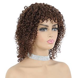 cheap Synthetic Trendy Wigs-Remy Human Hair Wig Short Bohemian Curly Pixie Cut Dark Brown New Arrival Capless Brazilian Hair Women's Dark Brown#2 10 inch