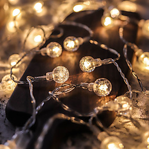 cheap LED String Lights-5M 50LED Crystal Ball Bulb Ball Lights LED String Lights Outdoor String Lights Battery Powered Fairy Light Waterproof Outdoor Garden Christmas Wedding Party Courtyard Decoration Lamp Without Battery