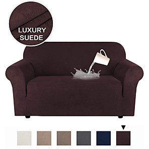 cheap Sofa Cover-Stretch Suede Sofa Covers for 1-4 Cushion Couch Covers Sofa Slipcovers with Non Slip Straps Underneath The Furniture,Water Proof Feature Soft Spandex Fabri