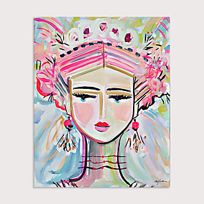 cheap Abstract Paintings-Hand Painted Modern Abstract Pink Cute Girl Oil Painting on Canvas Handmade Abstract People Wall Art for Decor Rolled Without Frame