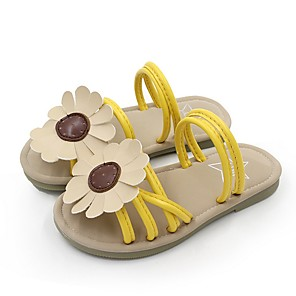 cheap Kids' Slippers-Girls' Comfort PU Slippers & Flip-Flops Little Kids(4-7ys) Yellow / Pink Summer