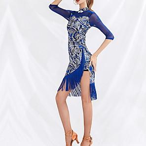 cheap Ballroom Dancewear-Latin Dance Dress Tassel Pattern / Print Women's Performance Daily Wear 3/4 Length Sleeve Natural Ice Silk Cotton
