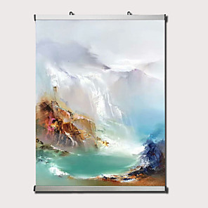 cheap Abstract Paintings-Oil Painting Hand Painted Abstract Landscape Comtemporary Modern Stretched Canvas With Stretched Frame or Rolled Without Frame