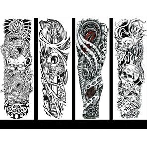 cheap Tattoo Stickers-6 Sheets Randomly Full Arm Temporary Tattoo Tattoo Designs Konsait Extra Temporary Tattoo Black tattoo Body Stickers for Man Women QB17-QB24