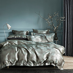 cheap Solid Duvet Covers-Duvet Cover Sets Luxury Silk / Cotton Jacquard 3 Piece Bedding Set Bed Linen Sheet Quilt Covers Bedclothes with Soft Lightweight Microfiber(Include 1 Duvet Cover and 1or 2 Pillowcases)