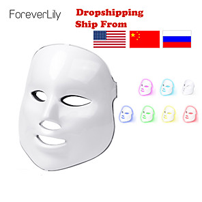 cheap Bathroom Gadgets-Foreverlily Beauty Photon LED Mask Therapy 7 Colors Mild Skin Care Skin Rejuvenation Wrinkle Removal Acne Facial Beauty Spa