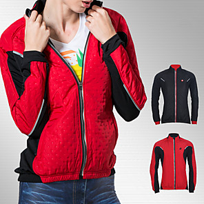 cheap Exercise, Fitness & Yoga Clothing-Women's Cycling Jacket Fleece Bike Jacket Fleece Lining Warm Sports Patchwork Black / Red Clothing Apparel Regular Fit Bike Wear / Long Sleeve