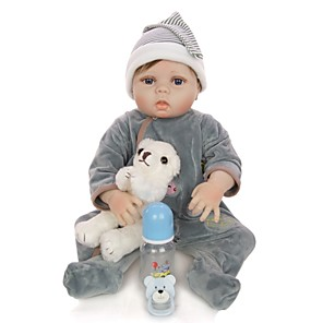 cheap Reborn Doll-KEIUMI 22 inch Reborn Doll Baby & Toddler Toy Reborn Toddler Doll Baby Boy Gift Cute Washable Lovely Parent-Child Interaction Full Body Silicone 22D13-C228-T39 with Clothes and Accessories for Girls