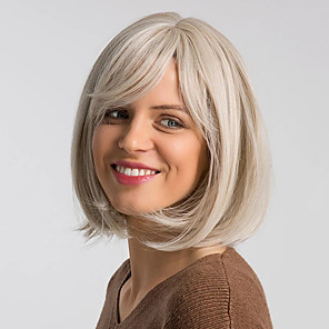 cheap Costume Wigs-Synthetic Wig Straight Bob Neat Bang Wig Short Brown Grey Beige Blonde / Bleached Blonde Synthetic Hair 12 inch Women's Women Synthetic Sexy Lady Dark Gray Brown hairjoy