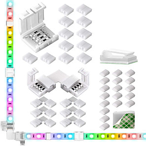 cheap LED Strip Lights-LED Light Strip Connectors 10mm Unwired 4 Pin RGB LED Lights Connectors kit 12 Gapless Connectors 6 L Shape Connectors for SMD 5050 Multicolor LED Strip 5V-24V