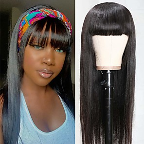 cheap Synthetic Trendy Wigs-Remy Human Hair Wig Short kinky Straight Middle Part With Bangs Natural Black Party Women Easy dressing Machine Made Capless Brazilian Hair Malaysian Hair Women's Girls' Natural Black #1B 18 inch