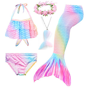 cheap Movie & TV Theme Costumes-Kids Toddler Girls' Active Cute Mermaid Tail Rainbow Drawstring Sleeveless Swimwear Blushing Pink
