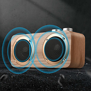 cheap Portable Speakers-Q7 Bluetooth Soundbar with 2 Speakers 16W Stereo Hifi Subwoofers Wood Wireless Loudspeaker Knob Button AUX USB TF MP3 Player