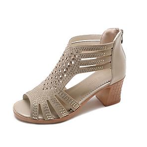 cheap Women's Sandals-Women's Sandals Summer Block Heel Peep Toe Daily PU Black / Khaki