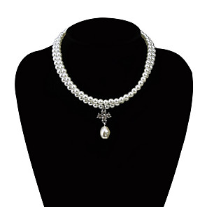 cheap Necklaces-Women's Bead Necklace Chrome White Gold 50 cm Necklace Jewelry For Daily