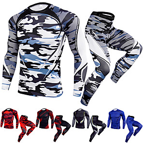 cheap Soccer Shoes-JACK CORDEE Men's 2-Piece Activewear Set Workout Outfits Athletic Quick Dry Fitness Gym Workout Basketball Running Sportswear Camo Clothing Suit Black / Red White Black Yellow Burgundy Blue Activewear