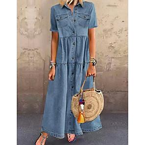 cheap Necklaces-Women's Denim Shirt Dress Maxi long Dress - Short Sleeve Summer Casual Vacation 100% Cotton 2020 Light Blue S M L XL XXL XXXL