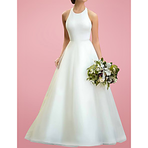 cheap Jewelry Sets-A-Line Wedding Dresses Jewel Neck Floor Length Satin Tulle Sleeveless Simple with 2020