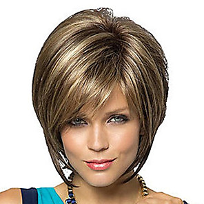 cheap Costume Wigs-Synthetic Wig Straight Bob Pixie Cut Middle Part Wig Short Brown Golden Brown / Ash Blonde Synthetic Hair 10 inch Women's Women Synthetic Best Quality Brown Mixed Color hairjoy